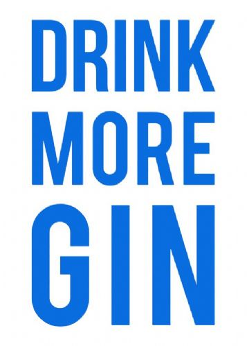 ART - DRINK MORE GIN - BLUE canvas print - self adhesive poster - photo print